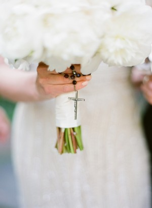 Rosary Around White Peony Bouquet