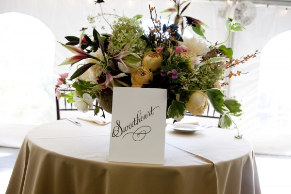 Rose Hydrangea and Orchid Reception Centerpiece