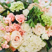 Rose Hydrangea and Rosemary Centerpiece