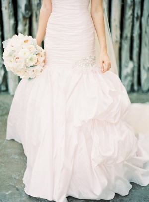 Ruched Bridal Gown With Full Flared Skirt