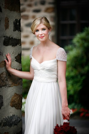 Ruched Bridal Gown With Short Beaded Sleeves 1