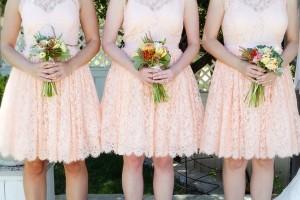 Salmon Colored Lace Bridesmaids Dresses