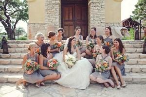 Short Champagne Colored Bridesmaids Dresses