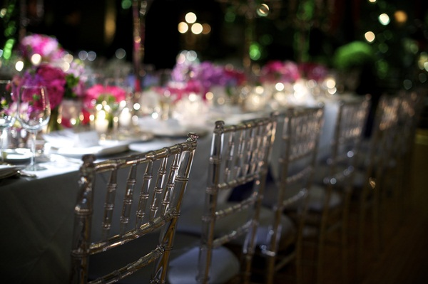 Silver Bamboo Chairs With Blue Gray Seats