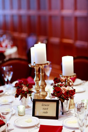 Silver Candlesticks and Roses in Mint Julep Cups on Reception Table