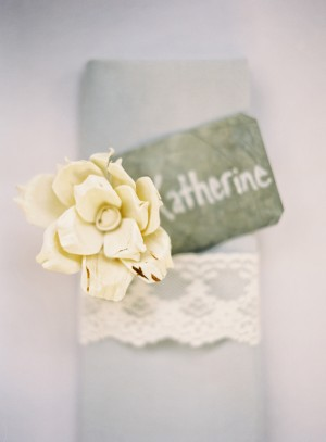 Slate Place Card on Gray Napkin With Lace