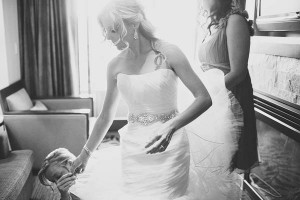 Strapless Bridal Gown With Jeweled Waist