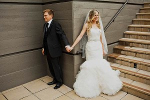 Strapless Bridal Gown With Jeweled Waist and Flared Skirt