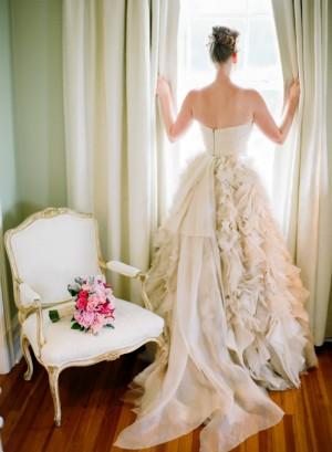 Strapless Cream Bridal Gown With Full Ruffled Skirt 1
