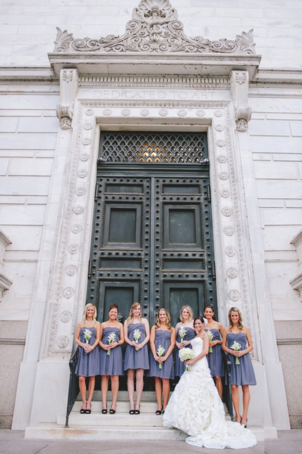 Strapless Gray Blue Bridesmaids Dresses