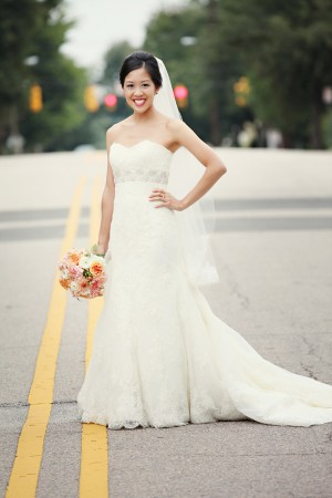 Strapless Lace Column Gown With Beaded Waist Detail 1