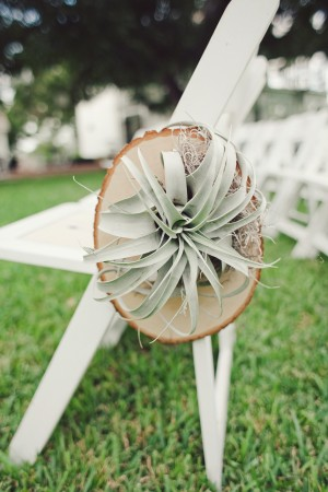 Succulent Decor on White Ceremony Chair