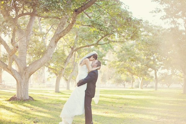 Sweet Sunset Bride and Groom Photo