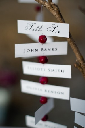 Table Number Assignments on Branch With Berries
