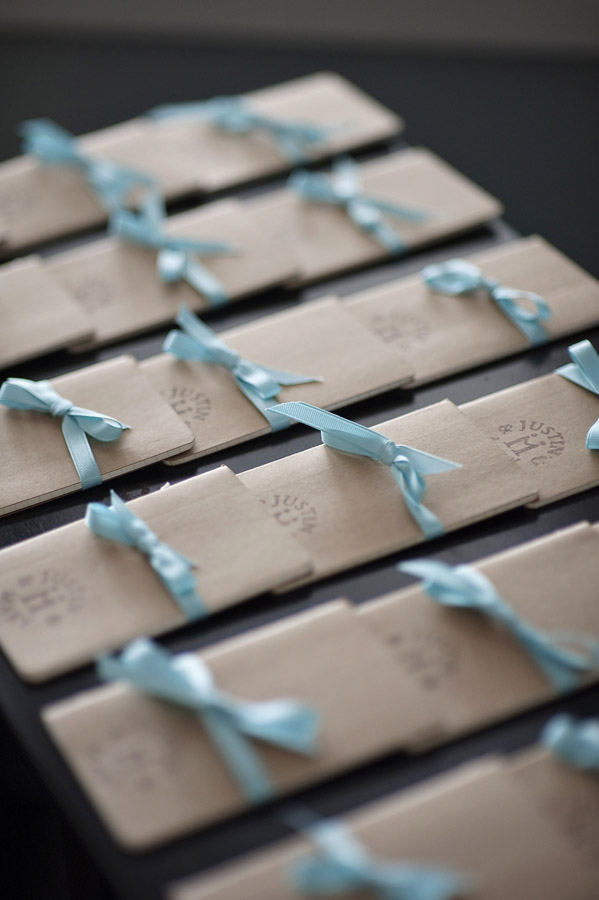 Table Place Cards With Blue Ribbon