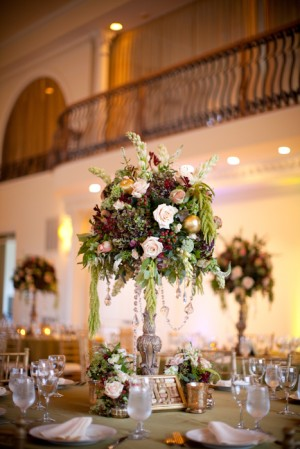Tall Reception Arrangement With Roses and Greenery 1