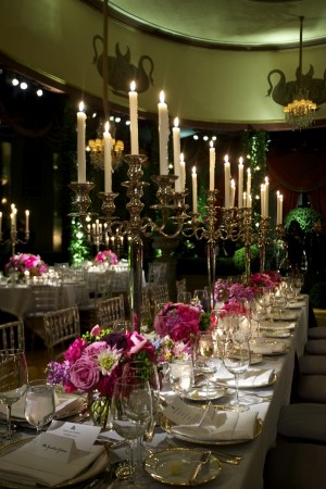 Tall Silver Candelabra on Reception Tables