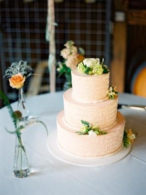 Three Tier Peach Wedding Cake
