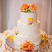 Round White Wedding Cake