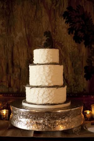 Three Tier Round Wedding Cake With Twig Decoration