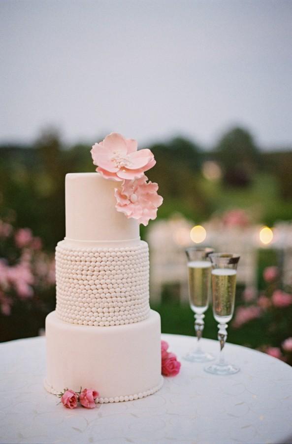 Three Tier Wedding Cake With Pink Sugar Flowers