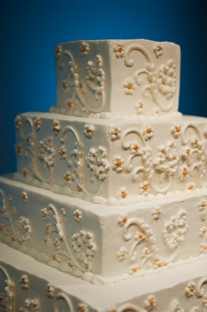 Tiered Square Wedding Cake With Daisies Detail