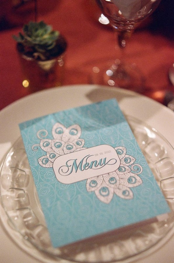 Tiffany Blue Letterpress Menu Card
