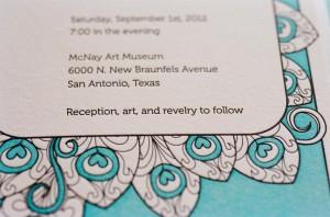 Tiffany Blue and White Letterpress Wedding Invitation