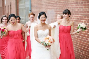 Watermelon Colored Strapless Bridesmaids Dresses