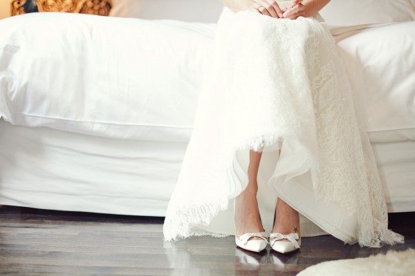 Wedding Gown Skirt With Lace Overlay