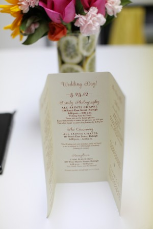 Whimsical Tri Fold Wedding Program