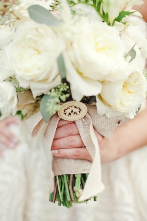 White Bridal Bouquet With Burlap Wrap