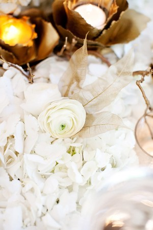 White Flowers With Sheer Gold Leaves