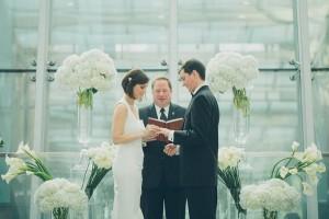 White Hydrangeas in Tall Glass Vases Ceremony Decor