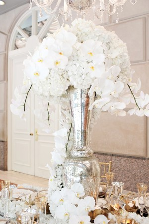 White Orchids and Hydrangeas in Tall Silver Vase
