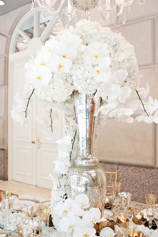 White Orchids And Hydrangeas In Tall Silver Vase Elizabeth Anne