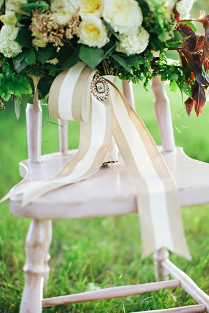 White and Green Bouquet With Khaki and White Stripe Ribbon and Jeweled Brooch1