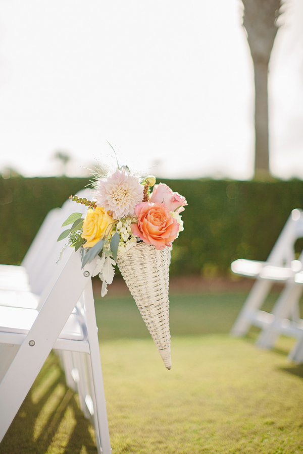 Cone Spring Flowers Aisle Decor