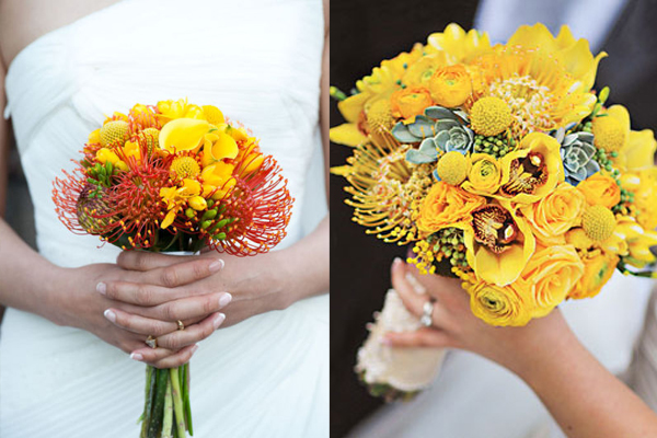 Yellow Orchid And Pincushion Protea Bouquet Elizabeth Anne Designs