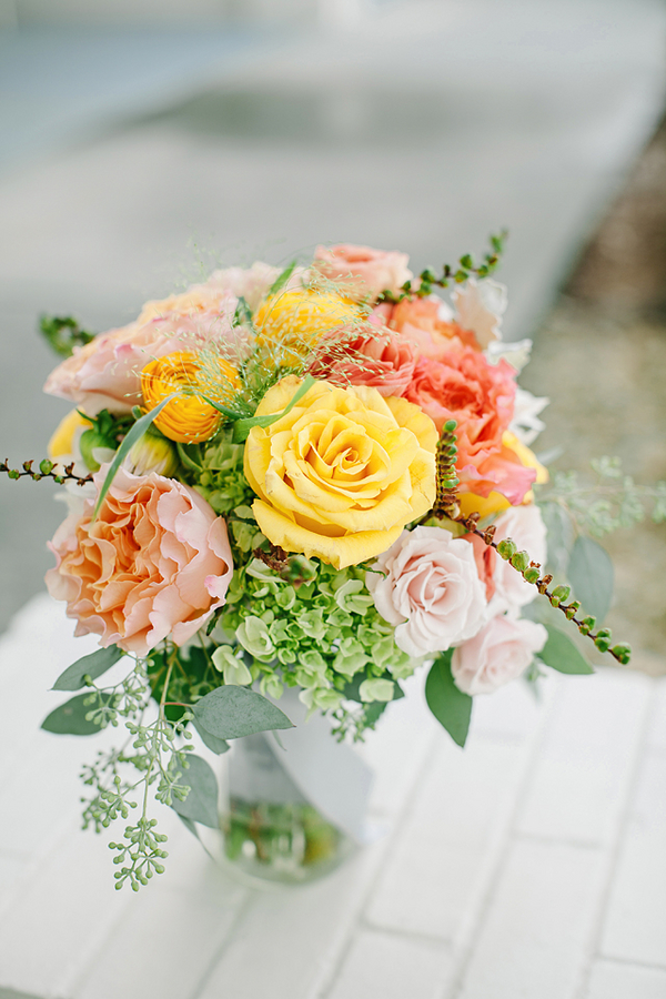 Yellow Peach and Green Spring Bouquet