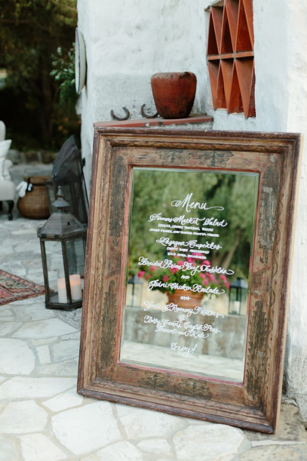 Antique Vintage Mirror Wedding Menu