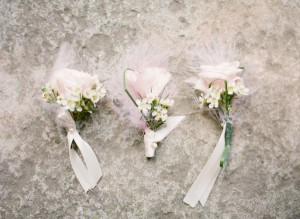 Baby Pink Boutonnieres With Feathers