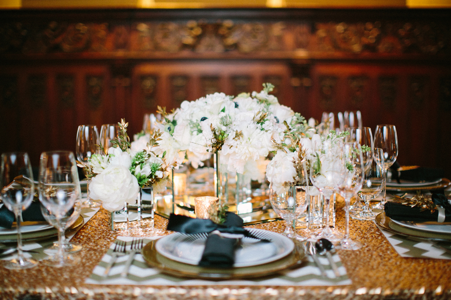 Black and gold wedding ideas elizabeth anne designs the for Golden wedding table decorations