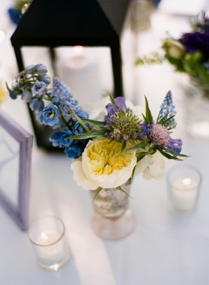 Blue Yellow and Purple Flowers in Vase