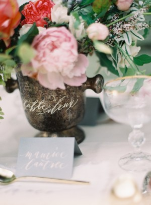 Blue and White Calligraphy Place Cards