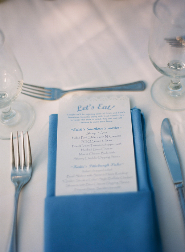 Blue and White Scalloped Reception Menu Card