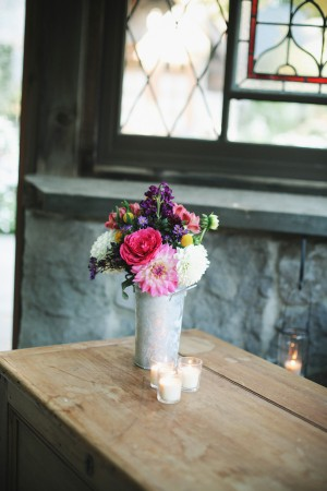 Bold Flowers in Galvanized Metal Container
