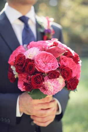 Bold Pink and Red Bridal Bouquet 1