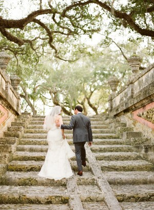 Bride and Groom on Stone Steps