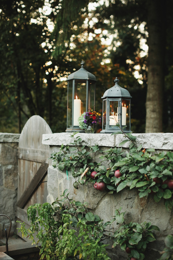 Candle Lanterns on Stone Wall